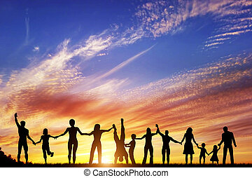 Fröhliche Gruppe verschiedener Menschen, Freunde, Familie, Team zusammen Hand in Hand
