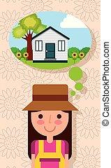 Fröhliche junge Frau denkt im Haus mit Gartenbaumblumen.