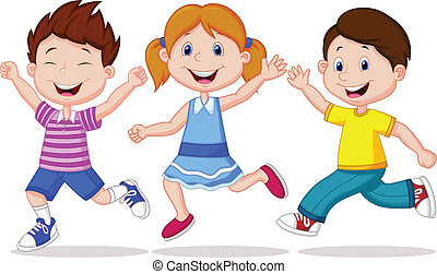 Fröhliche Kinder, Cartoon-Rennen