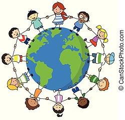 Fröhliche Kinder, die die Weltbilder in Händen halten, Kinder auf der ganzen Welt -