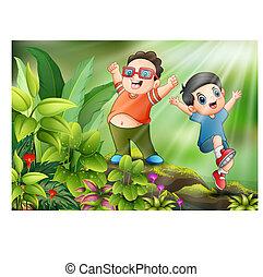 Fröhliche Kinder, die im Park spielen.