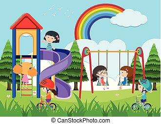 Fröhliche Kinder spielen auf dem Spielplatz.