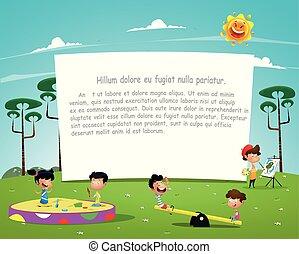 Fröhliche Kinder spielen auf dem Spielplatz Illustration