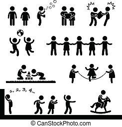 Fröhliche Kinder spielen Piktogramm