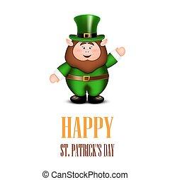 Fröhliche Leprechaun winkende Hand. St. Patricks Day Card.