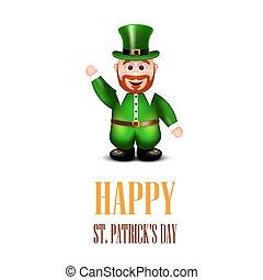 Fröhliche Leprechaun winkende Hand. St. Patricks Day Card. Vector il