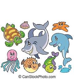 Fröhliche Meerestiersammlung