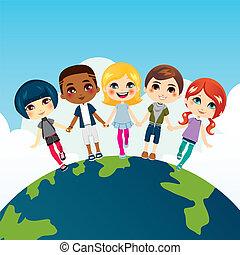 Fröhliche multiethnische Kinder