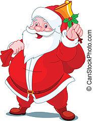 Fröhliche Santa mit Glöckchen