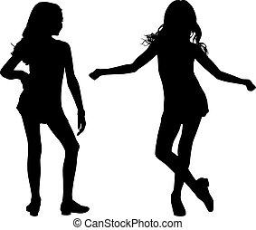 Fröhliche Silhouette-Kinder