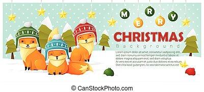 Fröhliche Weihnachten und glückliches neues Jahr mit Fuchsfamilie 2.