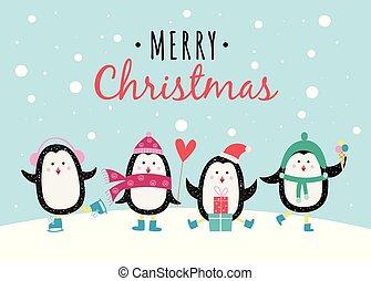 Fröhliche Weihnachten Winterbanner mit Pinguine flachen Vektorgrafik Hintergrund.