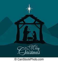 Fröhliche Weihnachtsgeburtsszene mit der heiligen Familie.