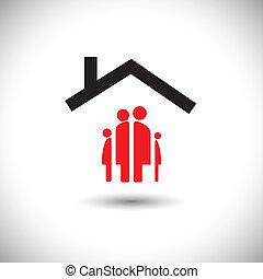 Fröhlichen Familien- und Heim-Icon-Konzept Vektor.
