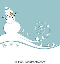Fröhlichen Schneemann, Weihnachtskarte