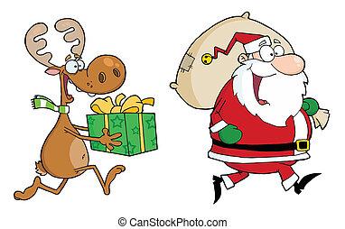 Fröhlichen Weihnachtsmann und Rentier