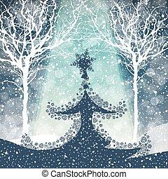 Fröhlicher Weihnachtsbaum mit fallendem Schnee.