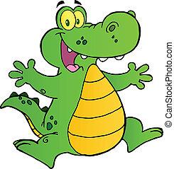 Fröhliches Alligatorspringen.