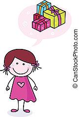 Fröhliches Doodle-Girl mit Geschenken