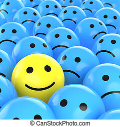 Fröhliches Lächeln zwischen den Traurigen