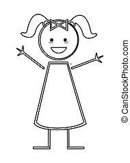 Fröhliches Mädchen mit Zöpfen-Ikonen-Stickfigur.