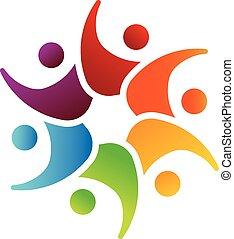 Fröhliches Teamwork 6 Circle Logo.