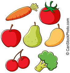 früchte, verschieden, gemuese, satz