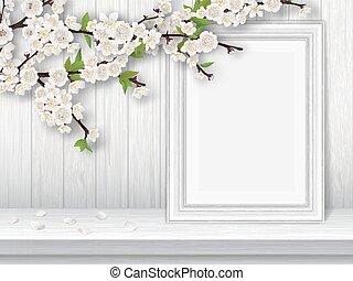 Frühling blühender Kirschzweig und P
