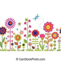 Frühling nahtlos mit Blumen.