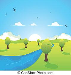 Frühling oder Sommerfluß und fliegende Schwalben