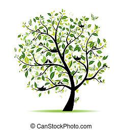 Frühlingsbaumgrün mit Vögeln für dein Design