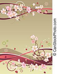 Frühlingsbild mit Herzen, Zweigen und abstrakten Elementen