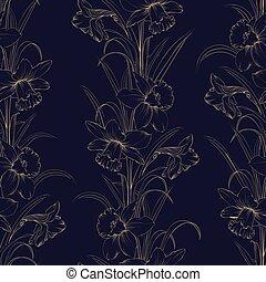 Frühlingsblumen formen nahtlose Muster im dunkelblauen Hintergrund.