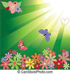 Frühlingsblumen und Schmetterlinge im grünen Licht