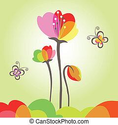 Frühlingsfarbene Blume mit Schmetterling