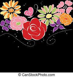 Frühlingsfarbene Blumen im schwarzen Hintergrund.