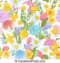 Frühlingsflora im weißen Hintergrund. Farbvoll nahtlos