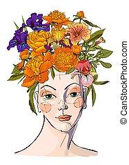 Frühlingsfrau mit Blumen ihr Haar
