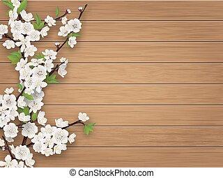 Frühlingskirschenzweig auf braunem, alten Holzfußboden