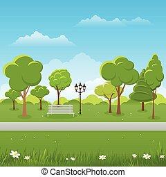 Frühlingslandschaft. Öffentliche Park-Vektorgrafik.