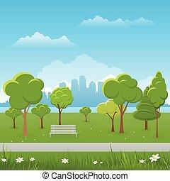 Frühlingslandschaft. Öffentliche Park-Vektorgrafik. Stadt im Hintergrund