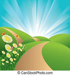 Frühlingslandschaft Grünfelder blauer Himmel, Blumen und Schmetterlinge