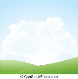 Frühlingslandschaft mit Himmel und Wolke