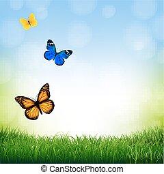 Frühlingslandschaft mit Schmetterling.