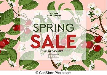 Frühlingsverkauf Blumen Banner mit blühenden rosa Kirschblüten auf rosa Hintergrund für saisonale Gestaltung von Banner, Flyer, Poster, Website, Vektorgrafik.