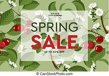 Frühlingsverkauf Blumen Web-Banner mit blühenden rosa Kirschblüten auf rosa Hintergrund für saisonale Gestaltung von Banner, Flyer, Poster, Website, Vektor Illustration.