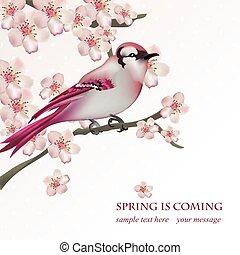 Frühlingsvogel auf blühenden Kirschbaum Zweig Vector Illustration. Schöne Postkarte für Muttertag, Geburtstag, Hochzeitstag. Pastellfarben. Vector Illustration