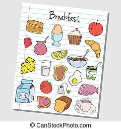 Frühstücksdoodles - gekleidetes Papier