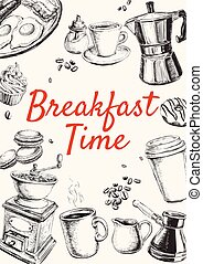 Frühstückshand gezeichnete Vektorgrafik.