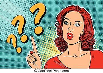 Fragezeichen, denkende Frau